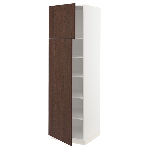 """SEKTION High cabinet with shelves/2 doors, white/Sinarp brown, 24x24x80 """""""
