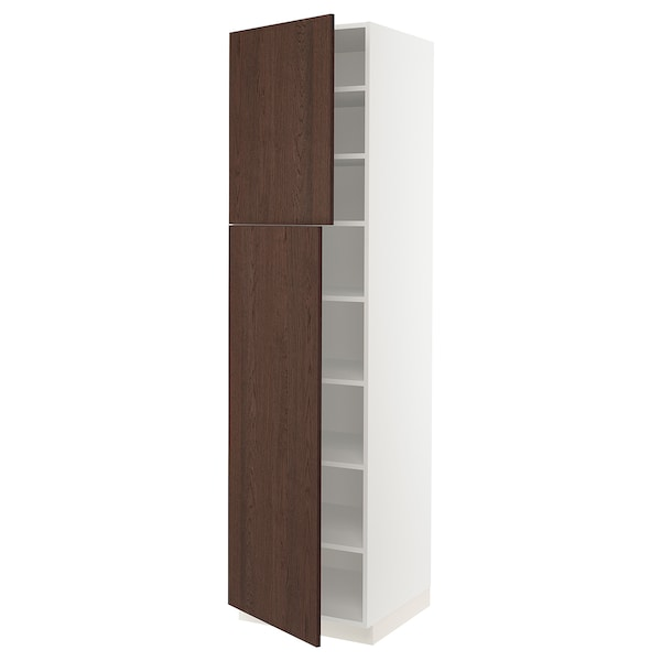 SEKTION High cabinet with shelves/2 doors, white/Sinarp brown, 24x24x90 ""