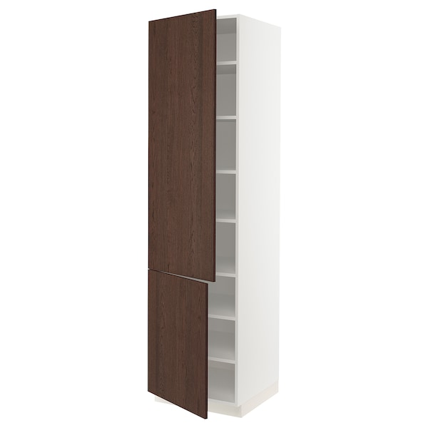 """SEKTION High cabinet with shelves/2 doors, white/Sinarp brown, 24x24x90 """""""