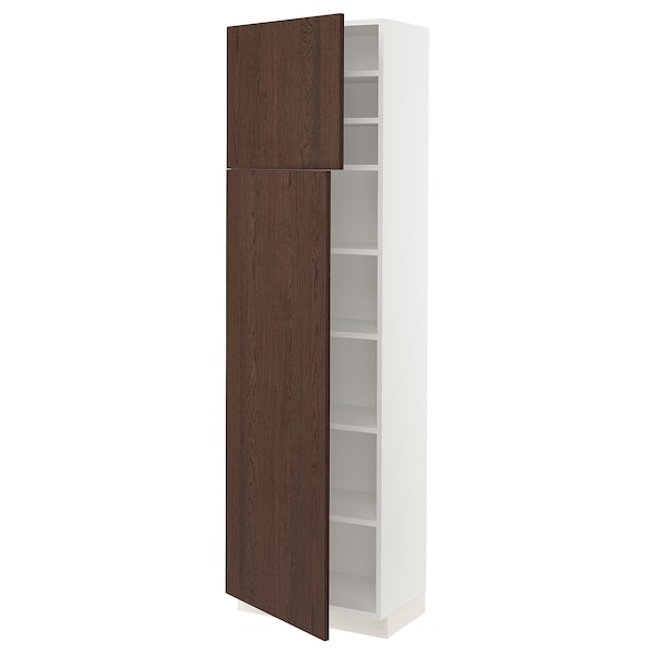 SEKTION High cabinet with shelves/2 doors, white/Sinarp brown, 24x15x80 ""