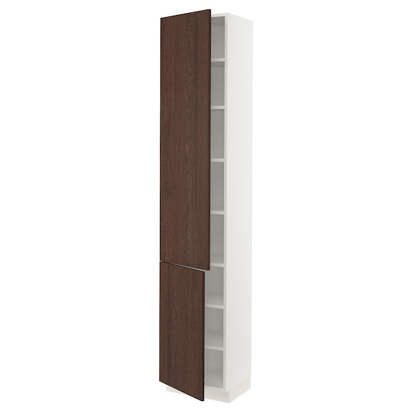 """SEKTION High cabinet with shelves/2 doors, white/Sinarp brown, 18x15x90 """""""