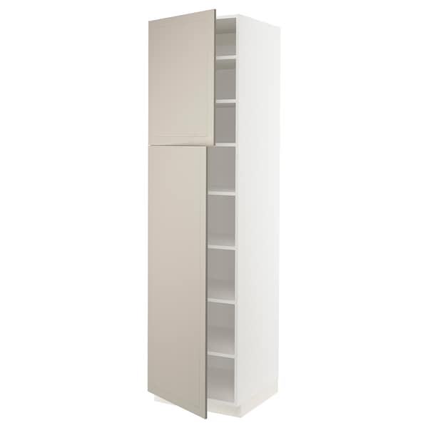 SEKTION High cabinet with shelves/2 doors, white/Stensund beige, 24x24x90 ""