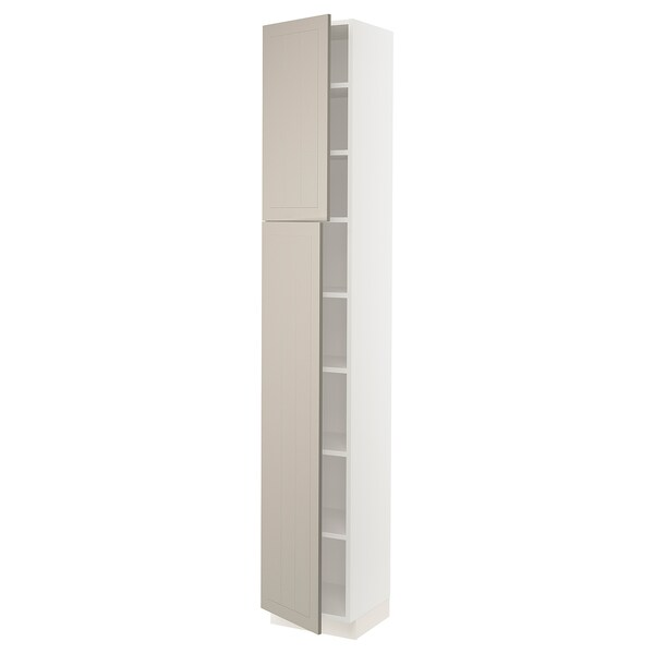 SEKTION High cabinet with shelves/2 doors, white/Stensund beige, 15x15x90 ""