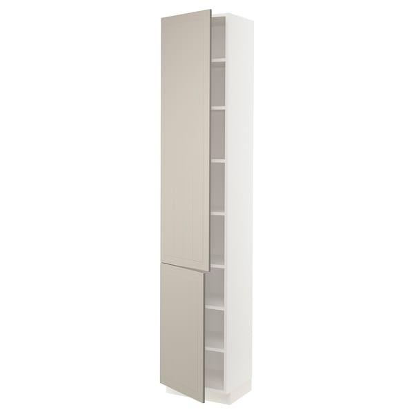 """SEKTION High cabinet with shelves/2 doors, white/Stensund beige, 18x15x90 """""""