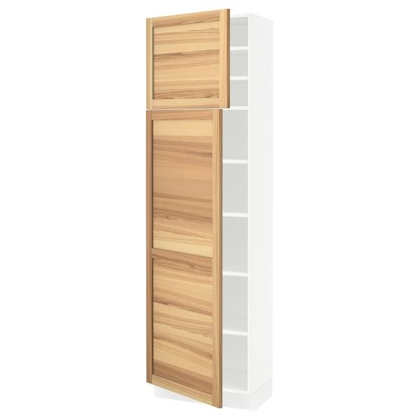 "SEKTION High cabinet with shelves/2 doors, white/Torhamn ash, 24x15x80 """