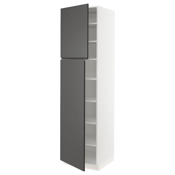 """SEKTION High cabinet with shelves/2 doors, white/Voxtorp dark gray, 24x24x90 """""""
