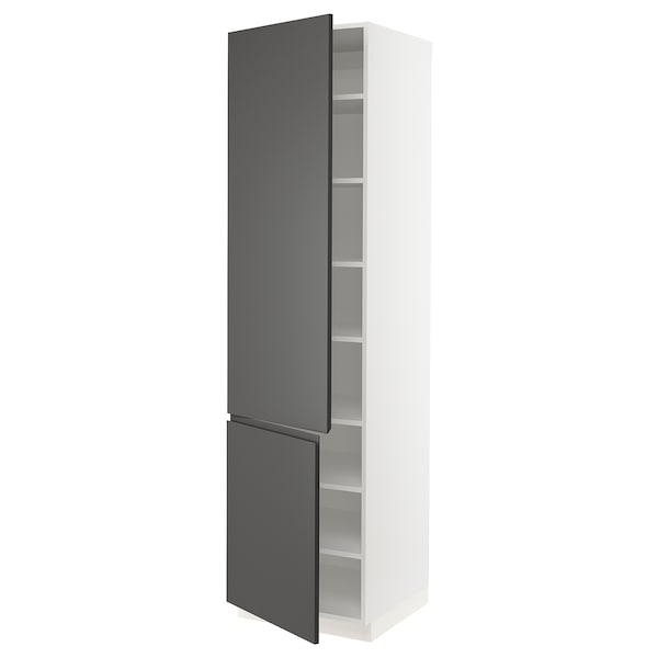 SEKTION High cabinet with shelves/2 doors, white/Voxtorp dark gray, 24x24x90 ""