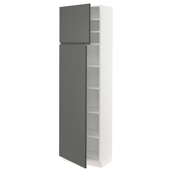 SEKTION High cabinet with shelves/2 doors, white/Voxtorp dark gray, 24x15x80 ""