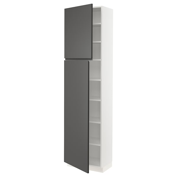 SEKTION High cabinet with shelves/2 doors, white/Voxtorp dark gray, 24x15x90 ""