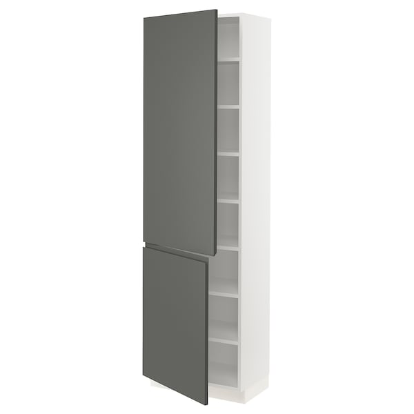 """SEKTION High cabinet with shelves/2 doors, white/Voxtorp dark gray, 24x15x80 """""""