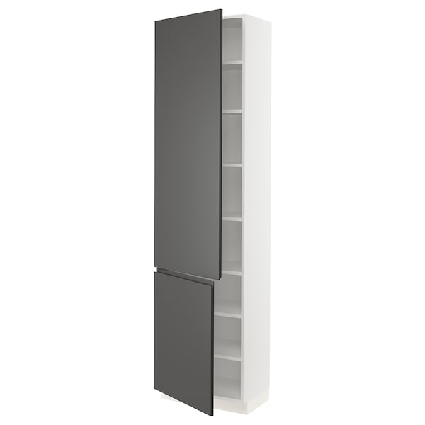 """SEKTION High cabinet with shelves/2 doors, white/Voxtorp dark gray, 24x15x90 """""""