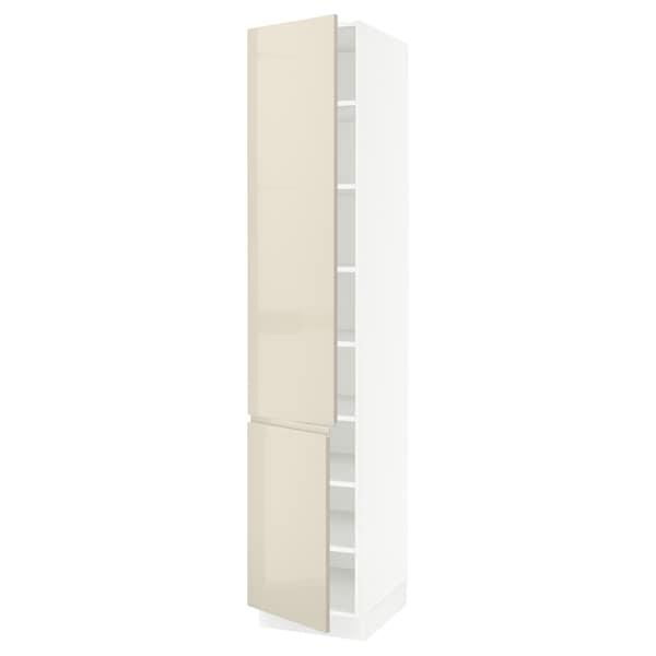 "SEKTION High cabinet with shelves/2 doors, white/Voxtorp high-gloss light beige, 18x24x90 """