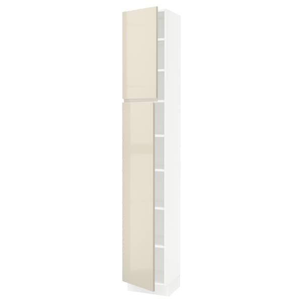 SEKTION High cabinet with shelves/2 doors, white/Voxtorp high-gloss light beige, 15x15x90 ""