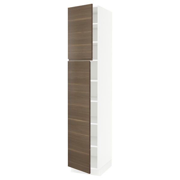 SEKTION High cabinet with shelves/2 doors, white/Voxtorp walnut effect, 18x24x90 ""