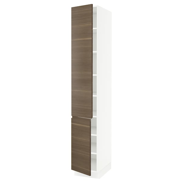 """SEKTION High cabinet with shelves/2 doors, white/Voxtorp walnut effect, 15x24x90 """""""