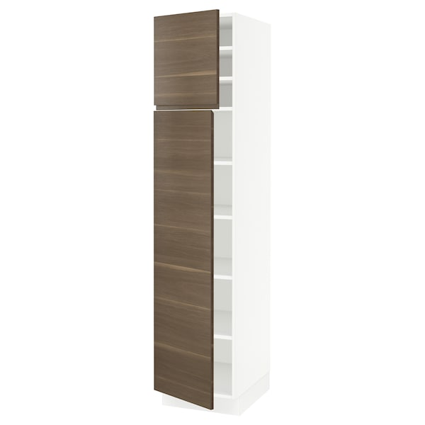 """SEKTION High cabinet with shelves/2 doors, white/Voxtorp walnut effect, 18x24x80 """""""