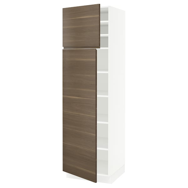 SEKTION High cabinet with shelves/2 doors, white/Voxtorp walnut effect, 24x24x80 ""