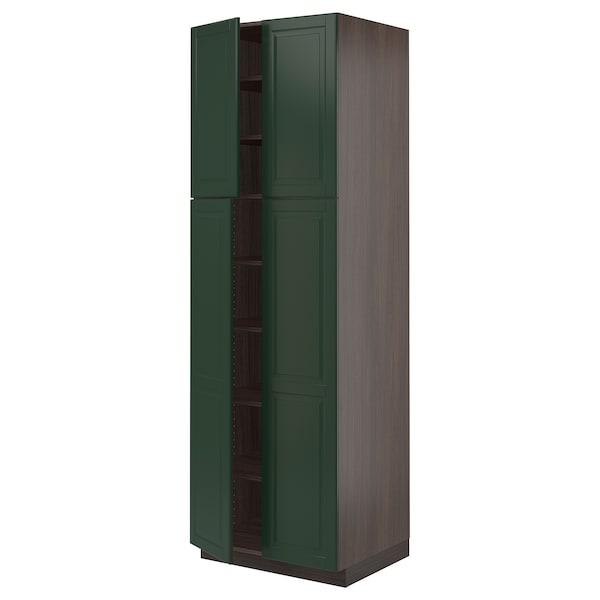 "SEKTION High cabinet with shelves/4 doors, brown/Bodbyn dark green, 30x24x90 """