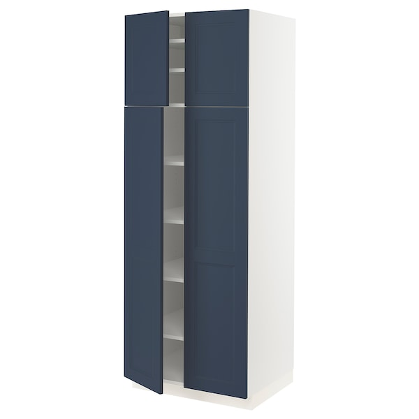"""SEKTION High cabinet with shelves/4 doors, white Axstad/matte blue, 30x24x80 """""""