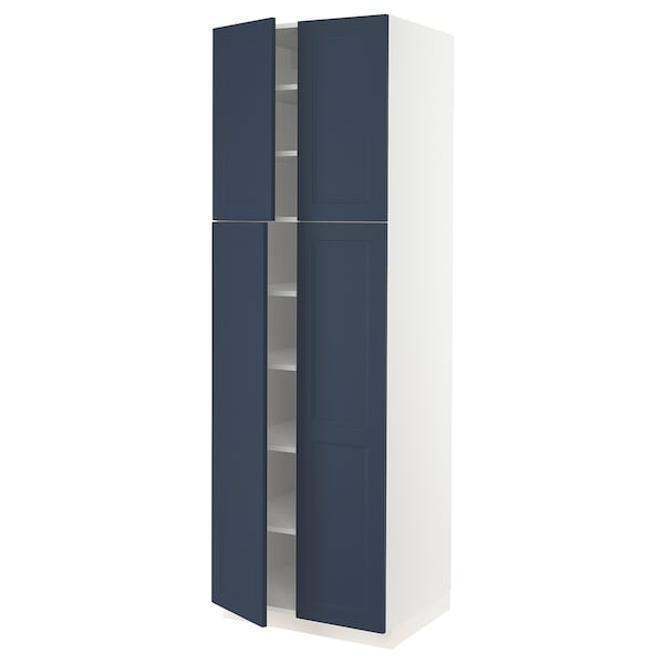 """SEKTION High cabinet with shelves/4 doors, white Axstad/matte blue, 30x24x90 """""""