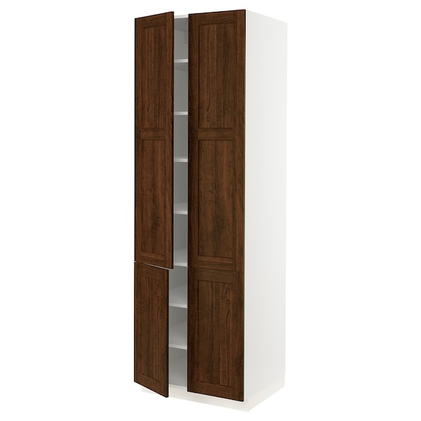 """SEKTION High cabinet with shelves/4 doors, white/Edserum brown, 30x24x90 """""""