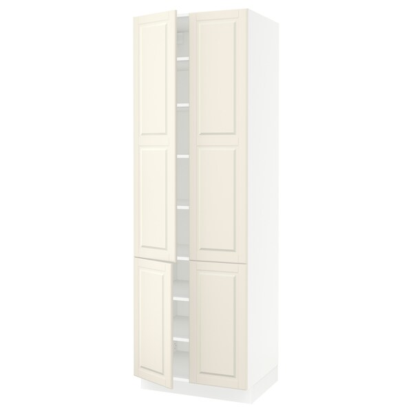 """SEKTION high cabinet with shelves/4 doors white/Bodbyn off-white 30 """" 24 """" 24 3/4 """" 90 """""""