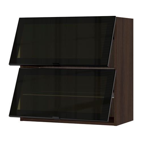 Sektion Horizontal Wall Cabinet 2glass Door Wood Effect Brown Jutis Smoked Glass Black Ikea