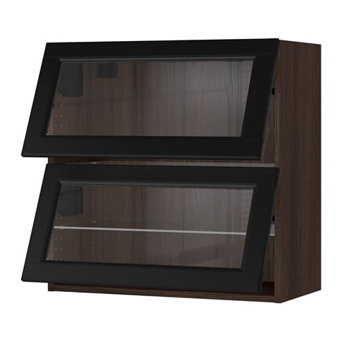 Sektion horizontal wall cabinet 2glass door wood effect for Wood effect kitchen cupboards