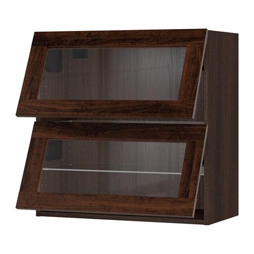 Sektion Horizontal Wall Cabinet 2glass Door Wood Effect Brown Edserum Wood Effect Brown Ikea