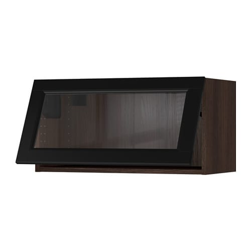 Sektion horizontal wall cabinet glass door wood effect for Black kitchen cabinets with glass doors