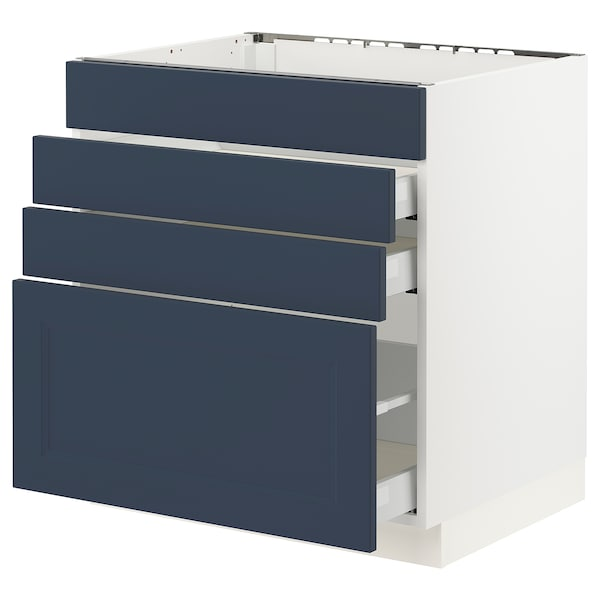 SEKTION / MAXIMERA Base cab f cktp/4 fronts/3 drawers, white Axstad/matte blue, 30x24x30 ""