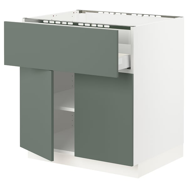 "SEKTION / MAXIMERA Base cab f cktp/dw/shelves/2drs, white/Bodarp gray-green, 30x24x30 """