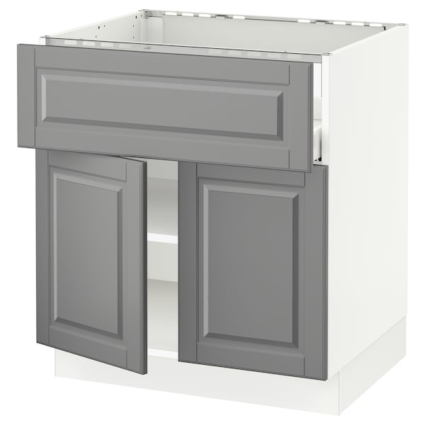 SEKTION / MAXIMERA Base cab f cktp/dw/shelves/2drs, white/Bodbyn gray, 30x24x30 ""