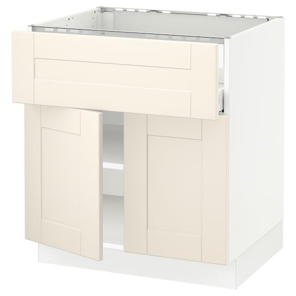 "SEKTION / MAXIMERA Base cab f cktp/dw/shelves/2drs, white/Grimslöv off-white, 30x24x30 """