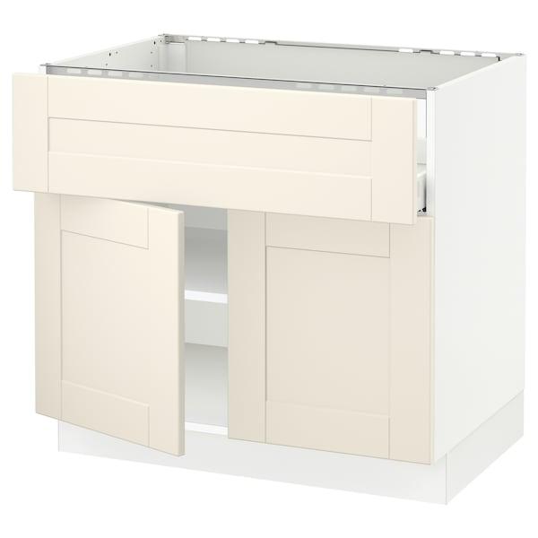 "SEKTION / MAXIMERA Base cab f cktp/dw/shelves/2drs, white/Grimslöv off-white, 36x24x30 """