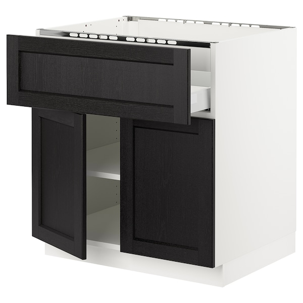 SEKTION / MAXIMERA Base cab f cktp/dw/shelves/2drs, white/Lerhyttan black stained, 30x24x30 ""