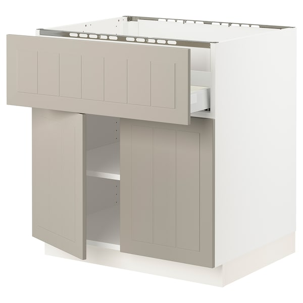 "SEKTION / MAXIMERA Base cab f cktp/dw/shelves/2drs, white/Stensund beige, 30x24x30 """