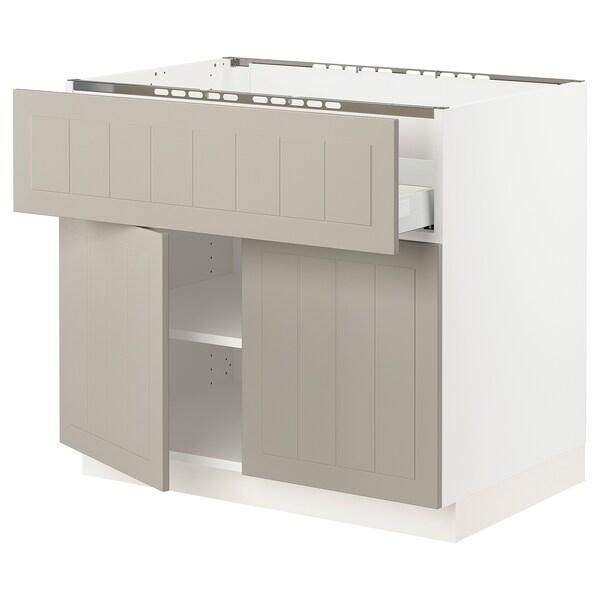 "SEKTION / MAXIMERA Base cab f cktp/dw/shelves/2drs, white/Stensund beige, 36x24x30 """