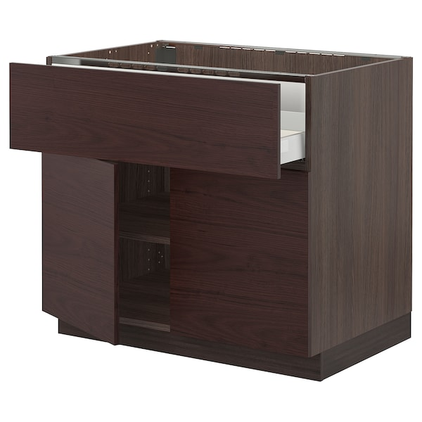 SEKTION / MAXIMERA Base cab f cooktop/drawer+2 doors, brown Askersund/dark brown ash effect, 36x24x30 ""