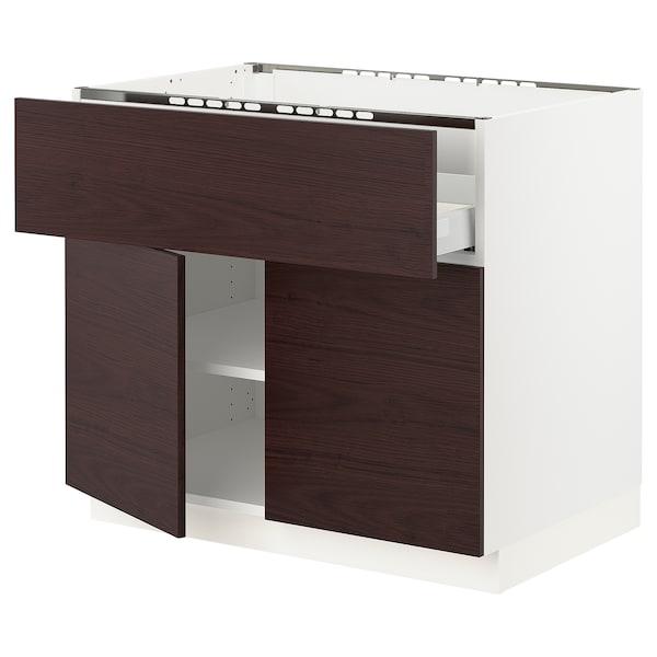 """SEKTION / MAXIMERA Base cab f cooktop/drawer+2 doors, white Askersund/dark brown ash effect, 36x24x30 """""""
