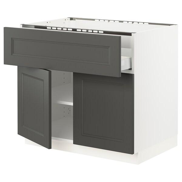 "SEKTION / MAXIMERA Base cab f cooktop/drawer+2 doors, white/Axstad dark gray, 36x24x30 """