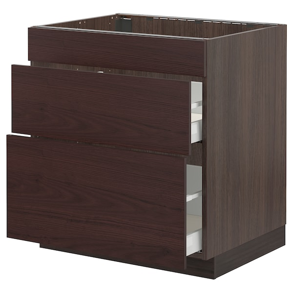 """SEKTION / MAXIMERA Base cab f/cooktop with 2 drawers, brown Askersund/dark brown ash effect, 30x24x30 """""""