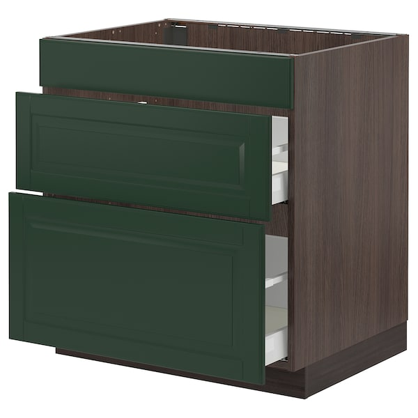 """SEKTION / MAXIMERA Base cab f/cooktop with 2 drawers, brown/Bodbyn dark green, 30x24x30 """""""