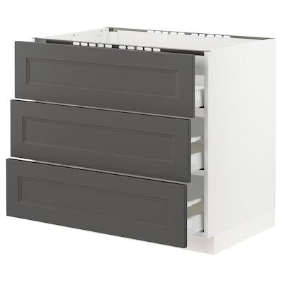 "SEKTION / MAXIMERA base cabinet f/cooktop w/3drawers white/Axstad dark gray 36 "" 24 3/4 "" 34 1/2 "" 24 "" 30 """