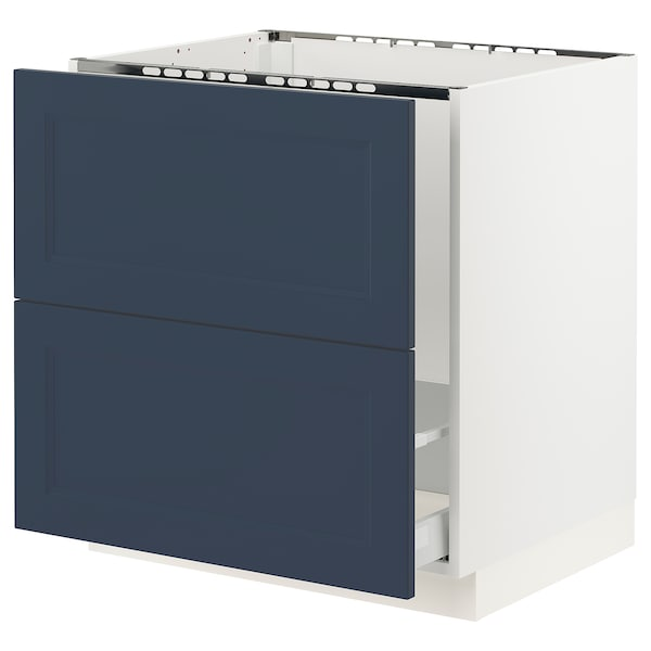 SEKTION / MAXIMERA Base cab f sink/recycling/2 fronts, white Axstad/matte blue, 30x24x30 ""