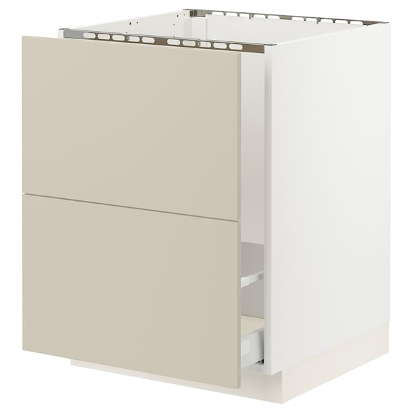 """SEKTION / MAXIMERA Base cab f sink/recycling/2 fronts, white/Havstorp beige, 24x24x30 """""""
