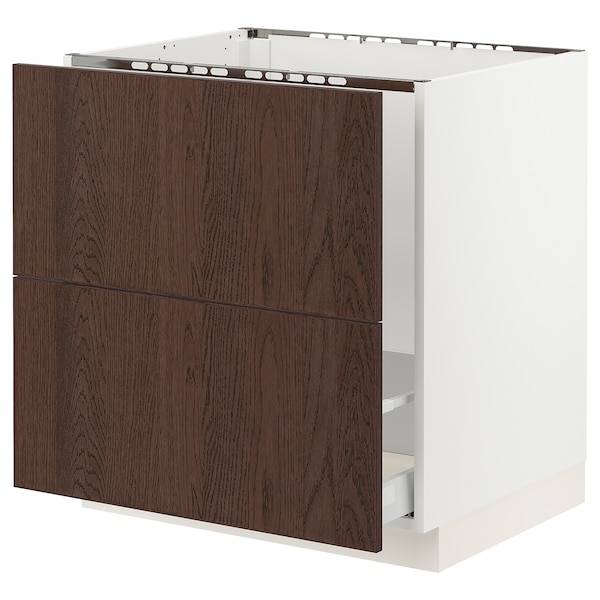 """SEKTION / MAXIMERA Base cab f sink/recycling/2 fronts, white/Sinarp brown, 30x24x30 """""""