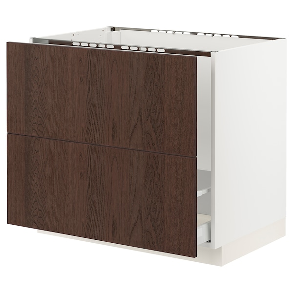 SEKTION / MAXIMERA Base cab f sink/recycling/2 fronts, white/Sinarp brown, 36x24x30 ""