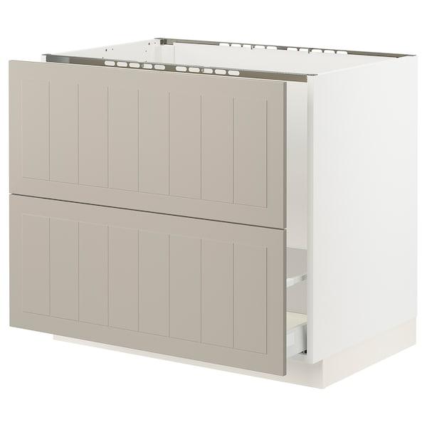 "SEKTION / MAXIMERA Base cab f sink/recycling/2 fronts, white/Stensund beige, 36x24x30 """