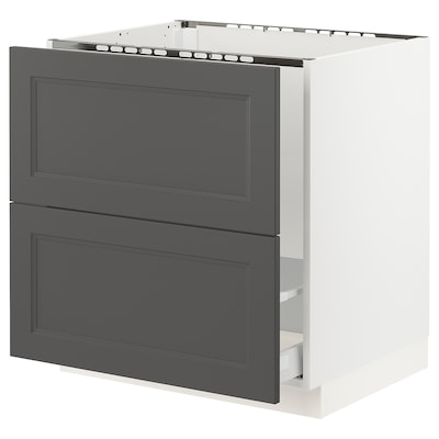 "SEKTION / MAXIMERA base cabinet f/sink & recycling white/Axstad dark gray 30 "" 24 "" 24 3/4 "" 30 """